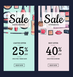 sale banners for beauty shop with hand vector image vector image
