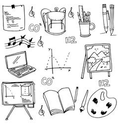 School object doodles art vector