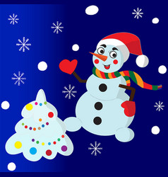 snowman and cristmas tree vector image vector image