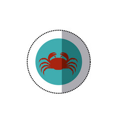 sticker old blue circular ornament with crab vector image vector image