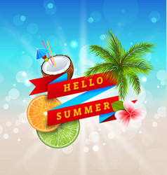 summer festival poster design with coconut vector image