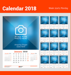 wall monthly calendar for 2018 year design print vector image