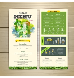 Watercolor cocktails menu design vector image vector image