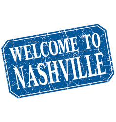 Welcome to nashville blue square grunge stamp vector