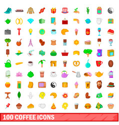 100 coffee icons set cartoon style vector
