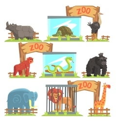 Wild animals behind the shed in zoo set vector