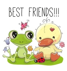 Cute Cartoon Duckling and frog vector image