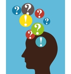 Silhouette head intellect disorder blue background vector