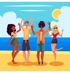 Young people dancing on the beach at a seaside vector