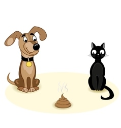 Dog with a cat and a turd vector