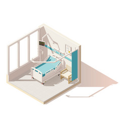 Isometric low poly hospital ward vector