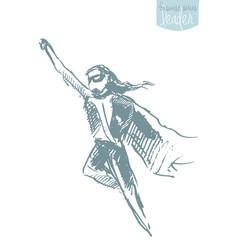 Girl waving cloak freedom happiness concept vector
