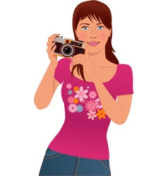 Tourist taking pictures vector