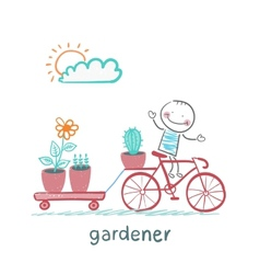 Gardener carries a bicycle plant vector
