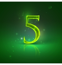 5 green glowing number five vector
