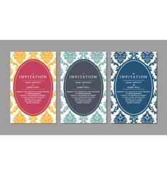 Wedding invitation on damask background vector image