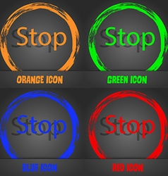 Traffic stop sign icon caution symbol fashionable vector