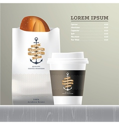 Coffee and bread set menu vector
