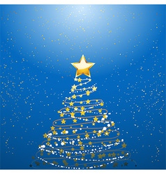 Christmas tree over blue vector
