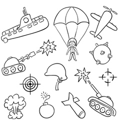 Hand-drawn doodles on the war themes vector