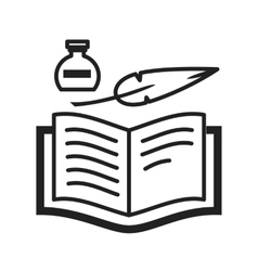 Quill and book vector