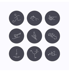 Pilates football and skiing icons fishing vector