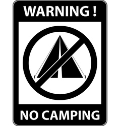 No bivouac camping prohibited symbol vector