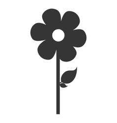 Flower with leaf isolted flat icon vector
