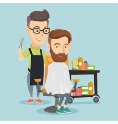 Barber making haircut to young man vector image vector image