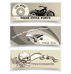 Biker banners vector
