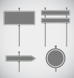 Blank grey metal arrow boards collecion vector image