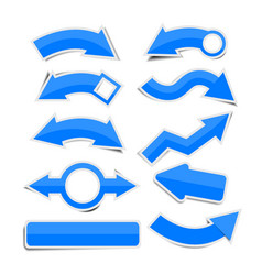 blue paper arrow stickers with shadows vector image
