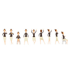 Business woman in various poses set vector