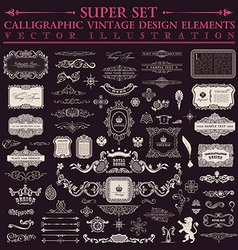 Calligraphic design elements baroque set Vintage vector image vector image