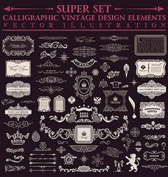 Calligraphic design elements baroque set Vintage vector image