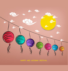 chinese lantern festival mid autumn festival vector image vector image