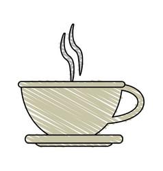 Color crayon stripe cartoon crockery cup of coffee vector