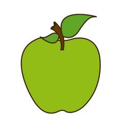 Colorful silhouette cartoon green apple fruit food vector