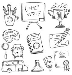 Doodle hand draw school education vector