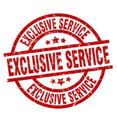 Exclusive service round red grunge stamp vector