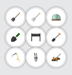Flat icon farm set of shovel barbecue hay fork vector