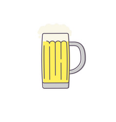 glass of beer isolated on white background line vector image vector image