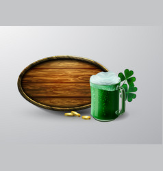 Green beer in mug vector