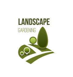 green tree park icon landscape gardening vector image