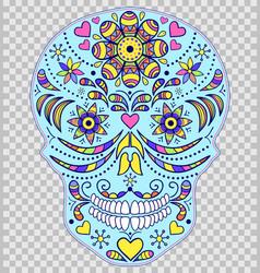 hand drawn colorful skull vector image