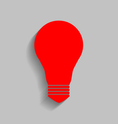 Light lamp sign red icon with soft shadow vector