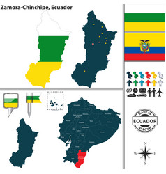 Map of zamora chinchipe ecuador vector