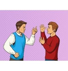Men debate pop art style vector
