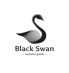 Minimalistic swan logo beautiful black ink vector
