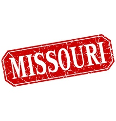 Missouri red square grunge retro style sign vector
